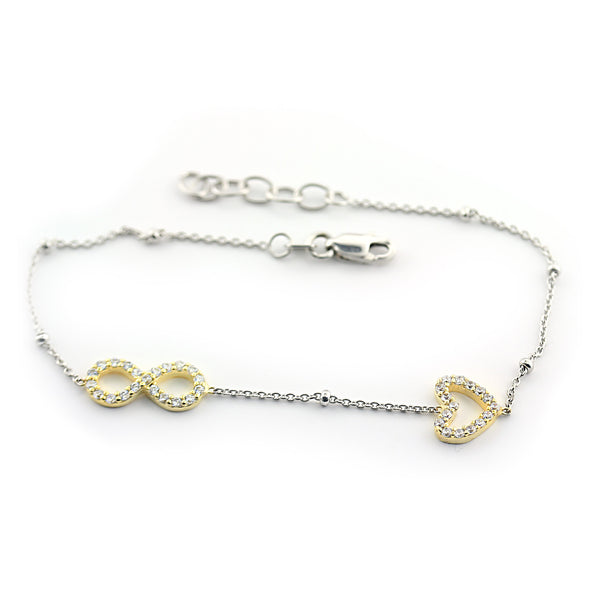Sterling Silver Infinity Bracelet with Heart - Thenetjeweler