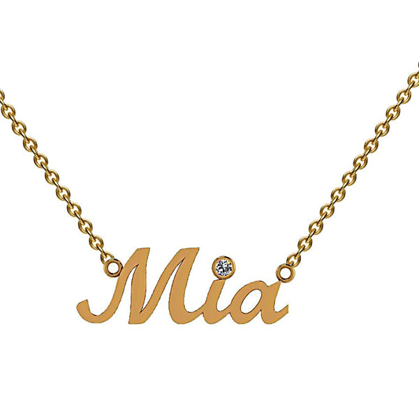 Personalized Name Necklace Mia Diamond Accent Yellow Gold - Thenetjeweler