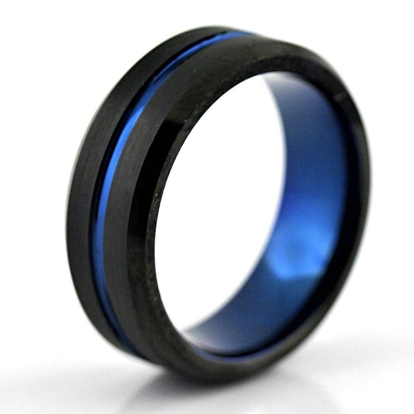 Black Tungsten Ring with Blue Inlay - Thenetjeweler