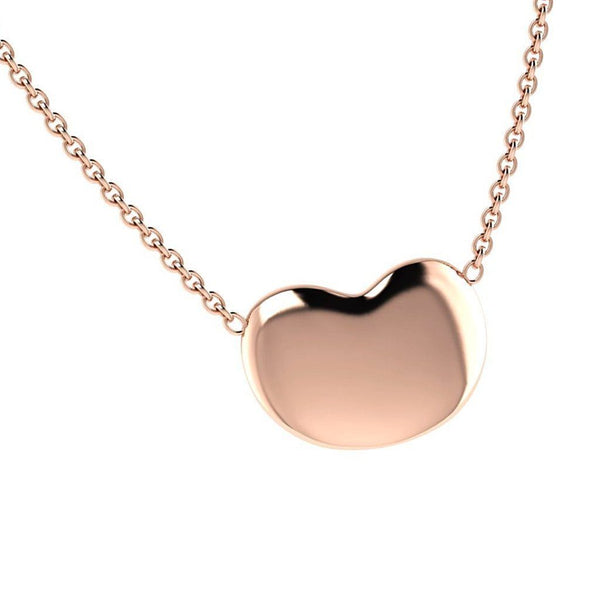 Puffed Heart Pendant Necklace 18K Pink Gold - Thenetjeweler by Importex