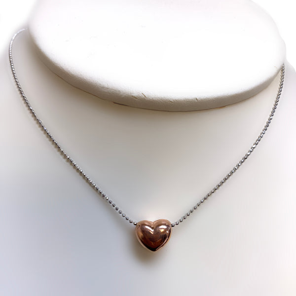 Silver Rose Gold Heart Pendant Necklace