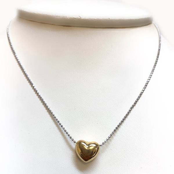 Italian Silver Gold Heart Pendant Necklace