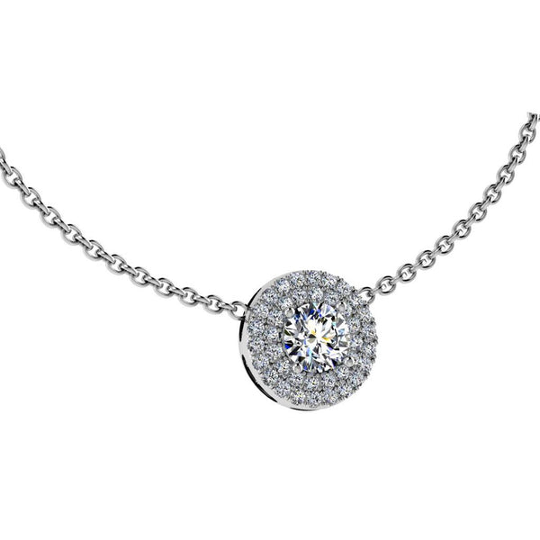 White Gold Diamond Halo Pendant Necklace 0.51 ct. t.w - Thenetjeweler