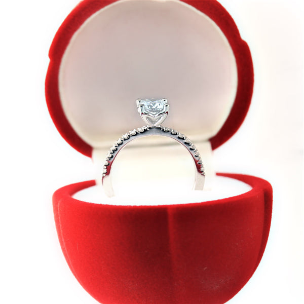 Diamond Engagement Ring with Heart Prongs - Thenetjeweler