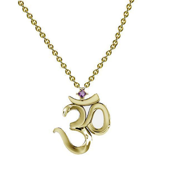 Gold OM yoga Necklace with Gemstone - Thenetjeweler