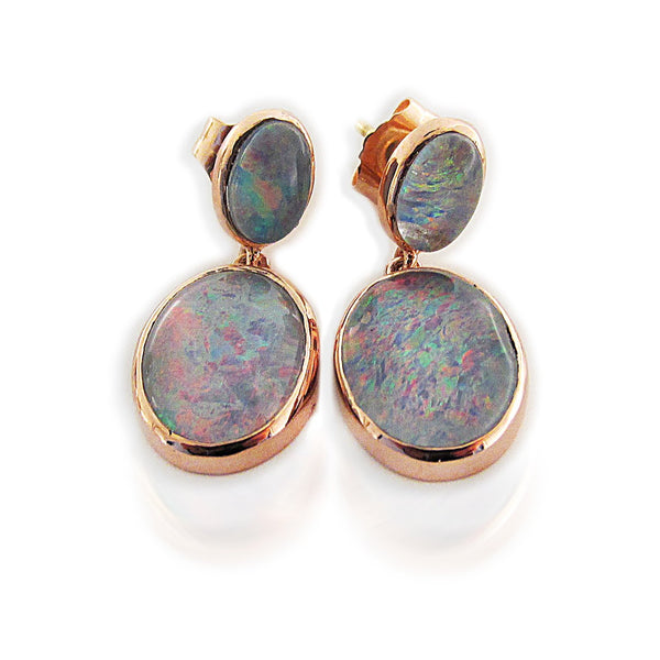 Double Drop Opal Stud Earrings