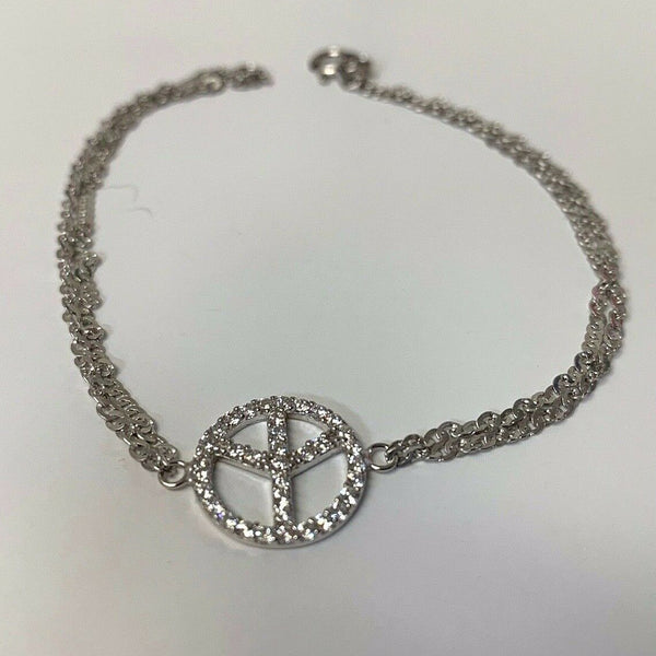 Peace Sign Charm Sterling Silver Double Chain Bracelet
