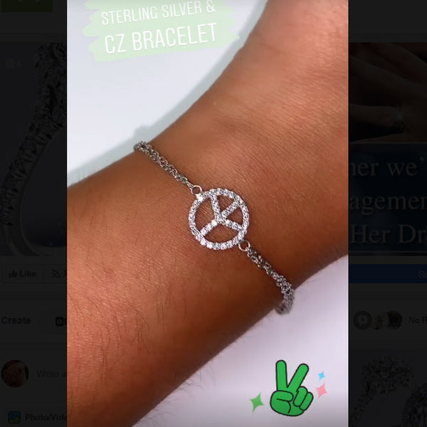 Peace Sign Charm Sterling Silver Double Chain Bracelet - Thenetjeweler