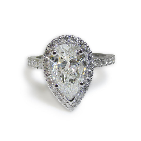 Pear Diamond Halo Engagement Ring - Thenetjeweler