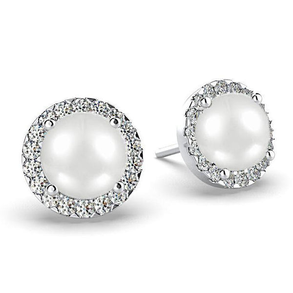 Diamond Pearl Halo Stud Earrings 18K White Gold - Thenetjeweler