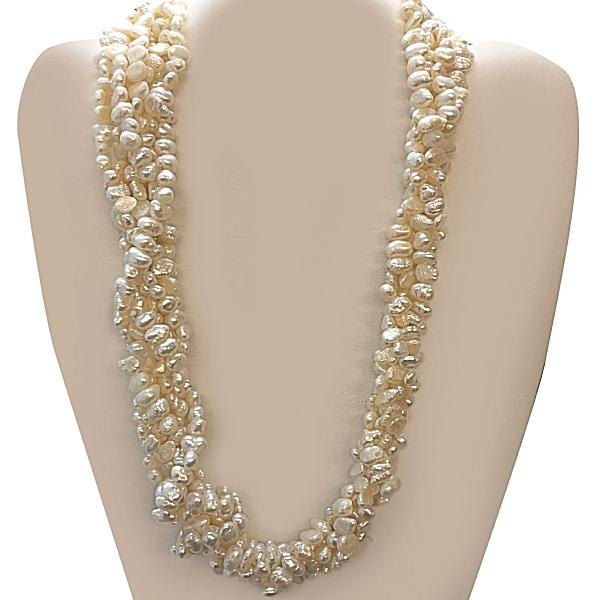 Multi Strand Freshwater Rice Pearl Necklace 14K Gold Clasp - Thenetjeweler