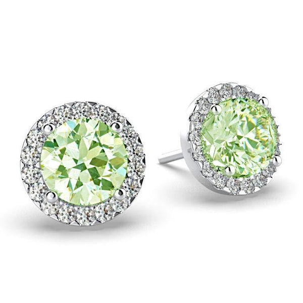 Diamond Peridot Halo Stud Earrings 18K White Gold - Thenetjeweler