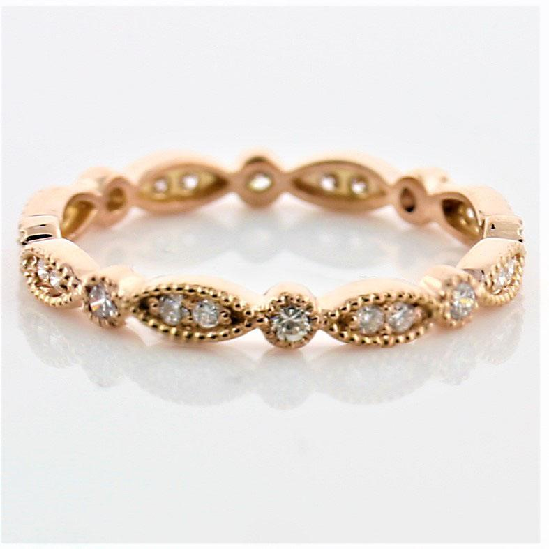 Milgrain Marquise and Dot Diamond Eternity Ring Band 18K Pink Gold - Thenetjeweler