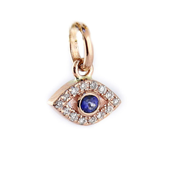 Diamond and Sapphire Evil Eye Pendant 14K Rose Gold - Thenetjeweler