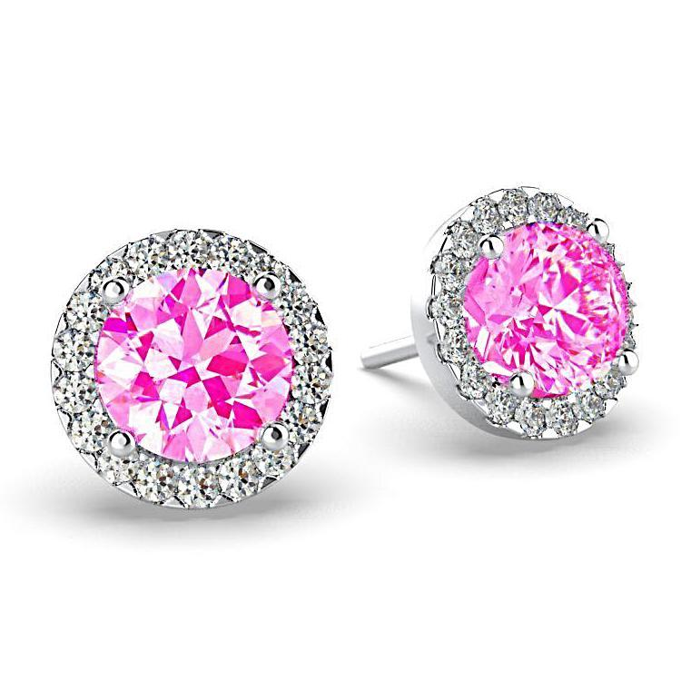 Diamond Pink Tourmaline Halo Stud Earrings 18K White Gold - Thenetjeweler