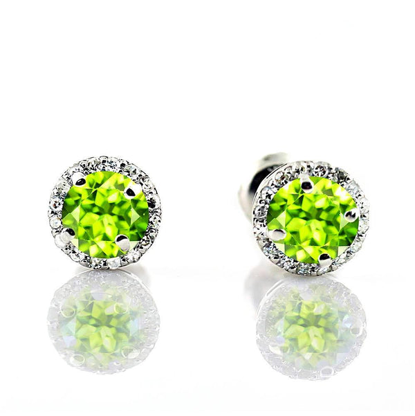 Diamond Halo Peridot Stud Earrings in 18K White Gold Screw Back Butterflies - Thenetjeweler