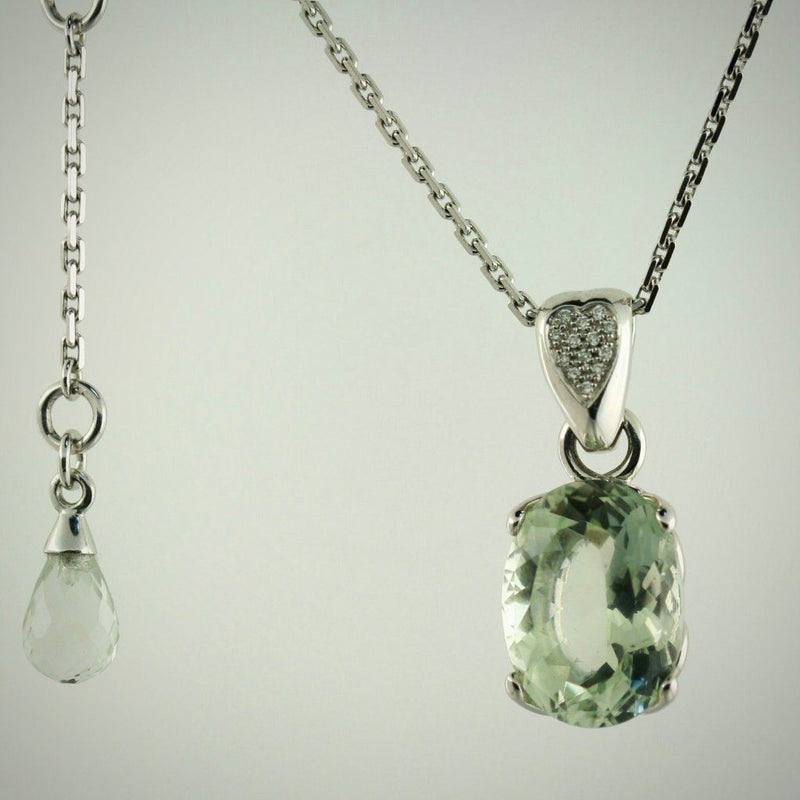 Prasiolite Diamond Pendant 14K White Gold Necklace - Thenetjeweler