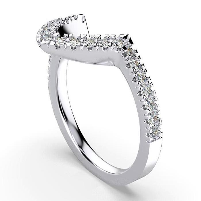 V-Shape Diamond Ring 18K White Gold - Thenetjeweler