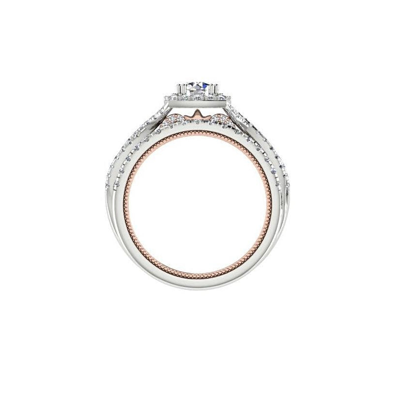 Two Tone Round Diamond Halo Engagement Ring 18K White and Pink Gold - Thenetjeweler
