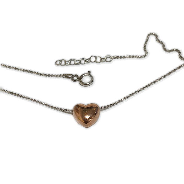 Italian Silver Rose Gold Heart Pendant Necklace