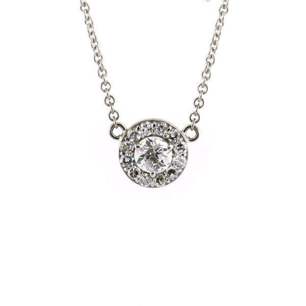 Round Halo Diamond Necklace 0.54 ct.tw - Thenetjeweler