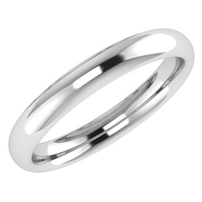 3mm Men's Wedding Ring White Gold Comfort Fit - Thenetjeweler