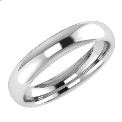 4mm Men's Wedding Ring White Gold Comfort Fit - Thenetjeweler