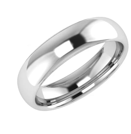5mm Wedding Band Ring White Gold