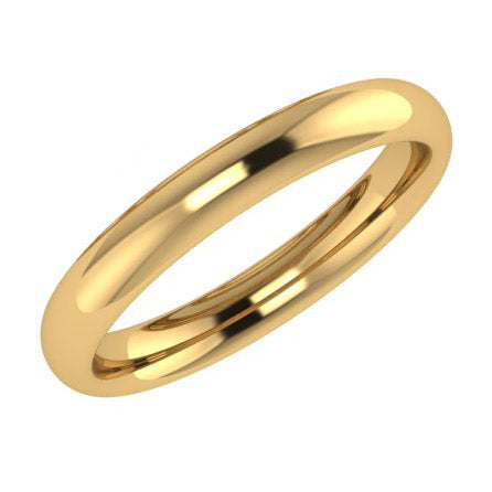 3mm Men's Wedding Ring Yellow Gold Comfort Fit - Thenetjeweler