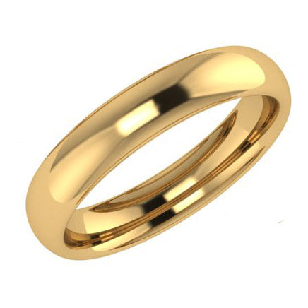 4mm Men's Wedding Ring Yellow Gold Comfort Fit - Thenetjeweler