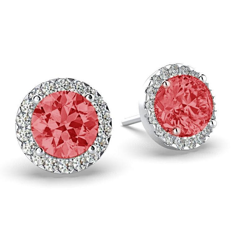 Diamond Ruby Halo Stud Earrings 18K White Gold - Thenetjeweler