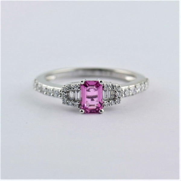Emerald Cut Pink Sapphire Engagement Ring with Diamonds 14K White Gold - Thenetjeweler
