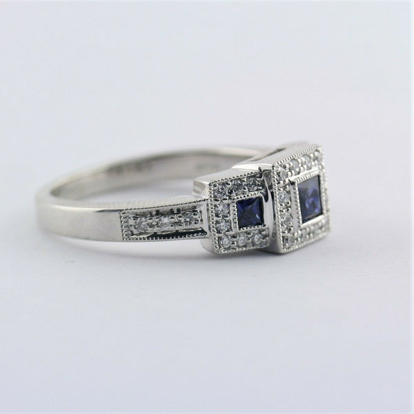 Square Halo Sapphire and Diamond Three Stone Ring 14K White Gold - Thenetjeweler