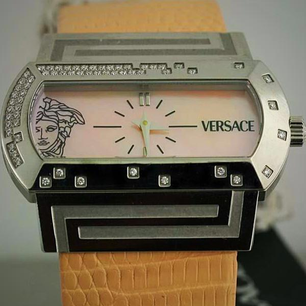 Ladies Diamond Watch PSQ91 VERSACE Hippodrome Stainless Steel Lizard Leather MOP - Thenetjeweler