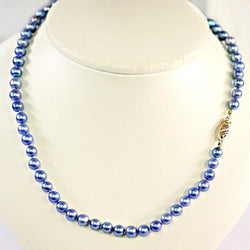 Blue Japanese Akoya Pearl Necklace 14K Gold Clasp - Thenetjeweler by Importex