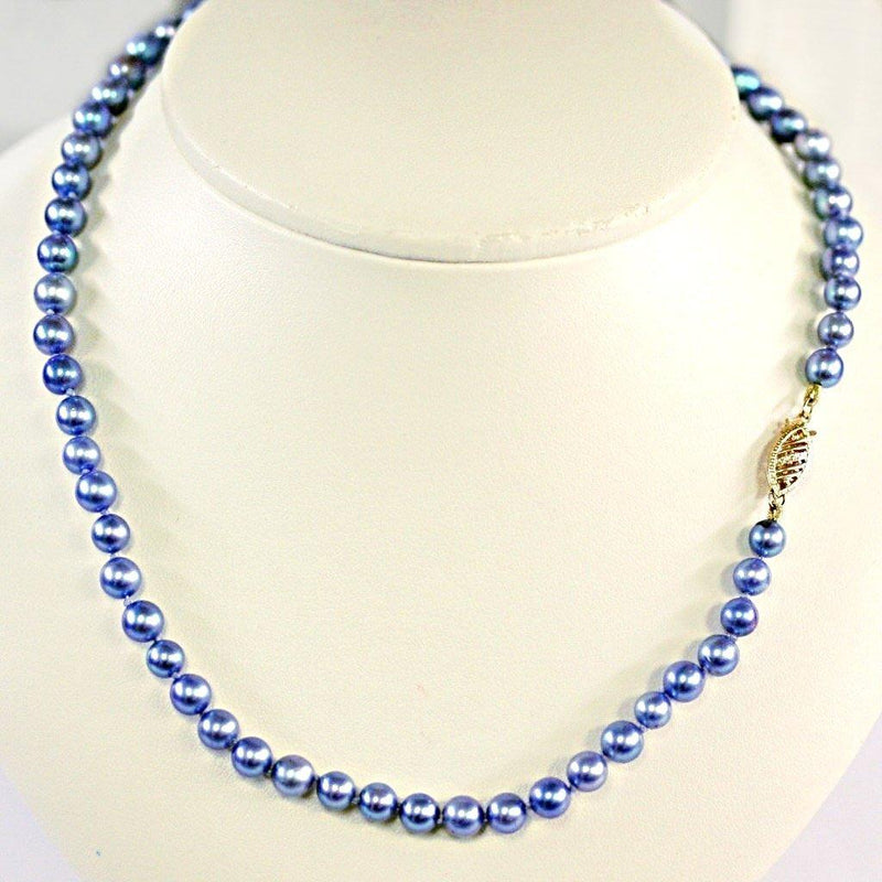 Blue Japanese Akoya Pearl Necklace 14K Gold Clasp - Thenetjeweler