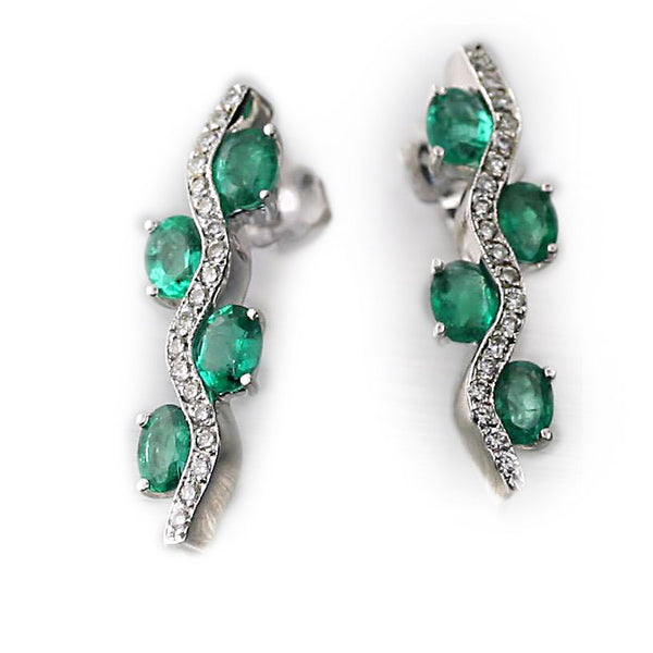 Emerald and Diamond White Gold Earrings - Thenetjeweler