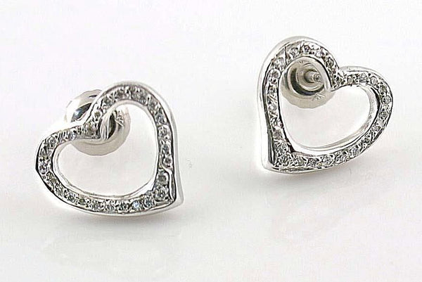 Diamond Heart Stud Earrings 14k White Gold Screw Back - Thenetjeweler by Importex