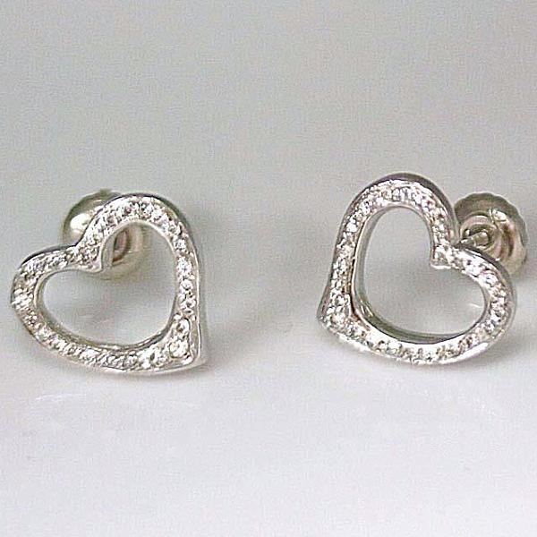 Diamond Heart Stud Earrings 14k White Gold Screw Back - Thenetjeweler