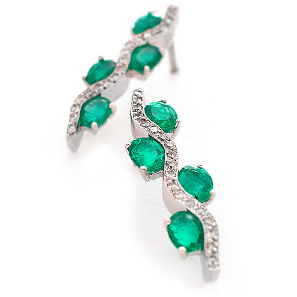 Emerald and Diamond White Gold Earrings