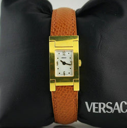 Versace Watch ON FIFTH Grecian Case Stainless Steel Yellow Gold Plated ALQ90 D4985 - Thenetjeweler