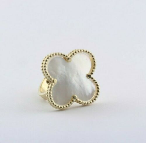 Mother of Pearl Flower Ring 10K Yellow Gold - Thenetjeweler