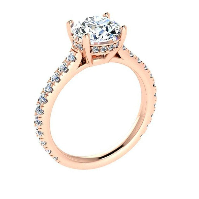 Round Diamond Engagement Ring 18K Gold Setting (1.07 ct. tw) - Thenetjeweler