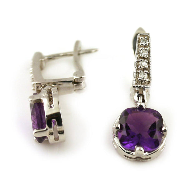Amethyst and Diamond Drop Earrings 14K White Gold - Thenetjeweler