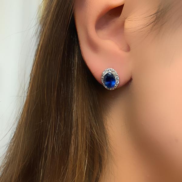 Oval Sapphire Diamond Halo Stud Earrings White Gold - Thenetjeweler