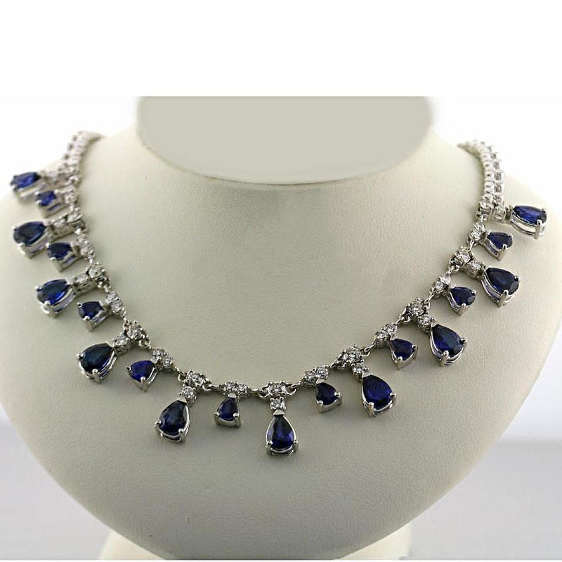 Blue Sapphire and Diamond Necklace - Thenetjeweler