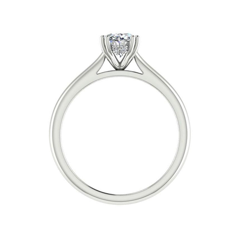 Oval Solitaire Diamond Engagement Ring 18K Gold - Thenetjeweler