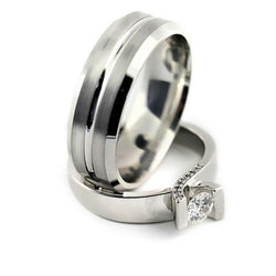 Tension Setting Engagement Ring and Men's Wedding Band Set