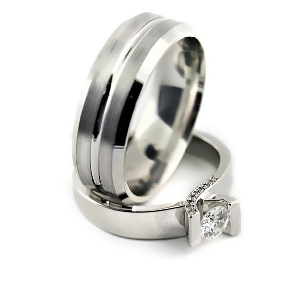 Tension Setting Engagement Ring and Men's Wedding Band Set - Thenetjeweler