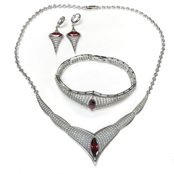 Silver Necklace Earrings Bracelet Set Garnet CZ - Thenetjeweler